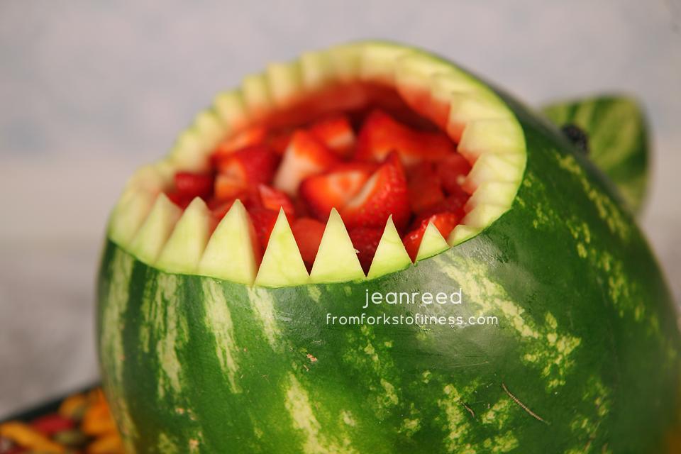 Watermelon Fruit Salad Shark Carving
